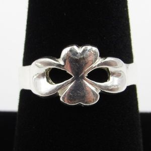 Vintage Size 8.5 Sterling Unique Heart Bow Ring